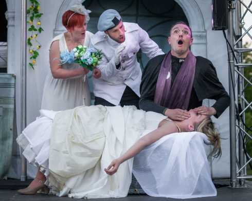 Beatrice (Rebecca Little), Benedick (Kevin Kemp) look on as the Friar (Gavin Harrison) ministers to the fallen Hero (Lucy Varney)